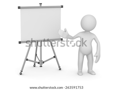 White man pointing empty whiteboard , 3d render and computer generated image.