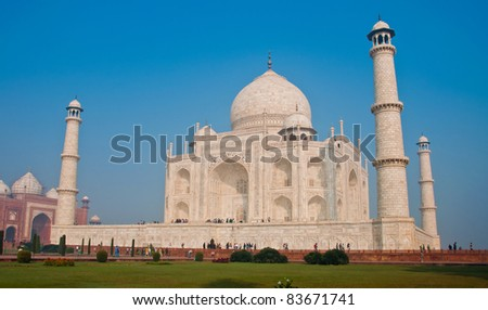 White marble Taj Mahal in India, Agra, Uttar Pradesh