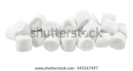 white marshmallows candy isolated on white background