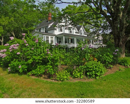 White New England house on tree lined street, Mount Desert Island, Acadia National Park,  Maine