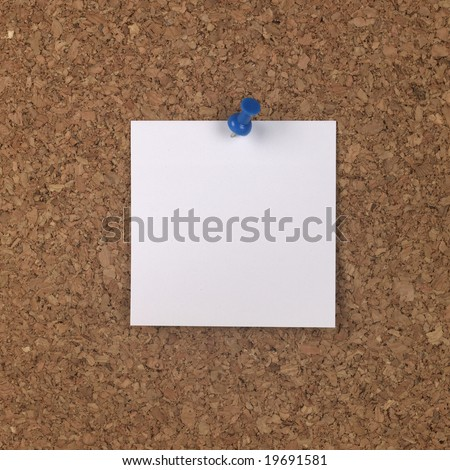 White Note on Cork Board