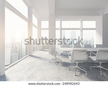 white office interior. contemporary white white office interior 3d rendering intended office interior h