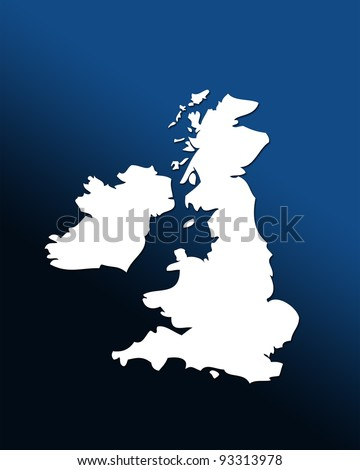 White outline map of UK over blue black graduated background