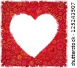 White painted heart on red ornate background, greeting card. Vector version also exist. - stock vector