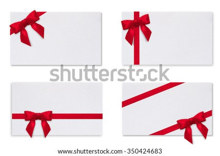 White paper card with a red bow on a white background. Greeting card.