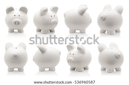 White piggy bank collection isolated on white background