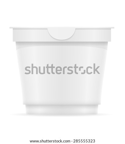 white plastic container of yogurt or ice cream illustration isolated on background