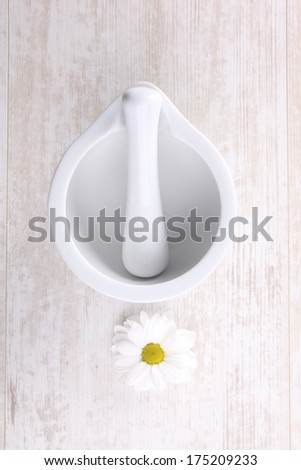 white porcelain mortar and pestle set