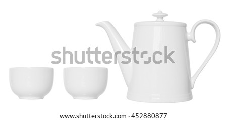 White porcelain tea set, isolated on white background