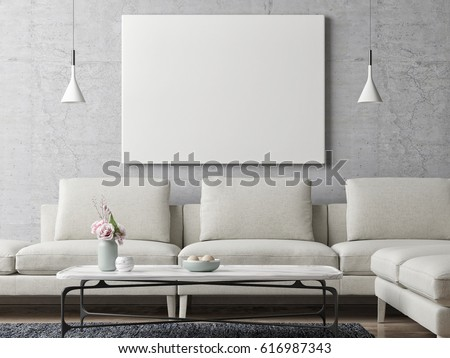 White Poster On Concrete Wall Living Room Background 3d Illustration