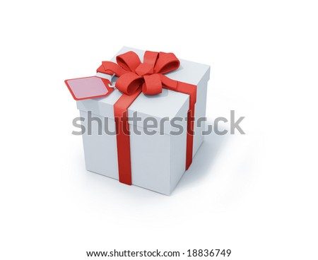 white present box with red ribbon on white background. FIND MORE present boxes in my portfolio