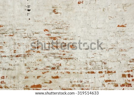 White Red Old Brick Painted Wall With Damaged Plaster Background Texture