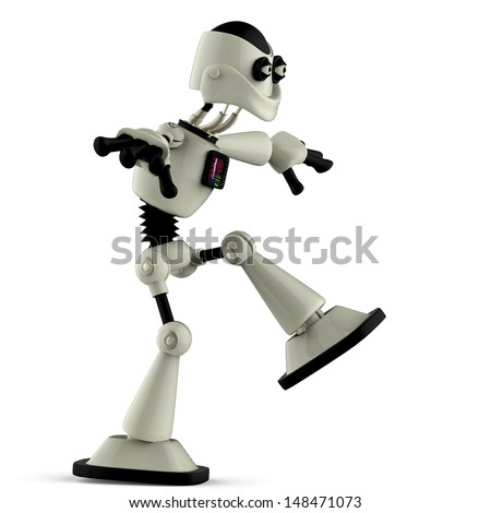 white robot crazy walk