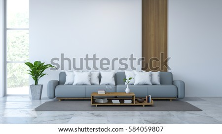 white room interior blue sofa and wood table on marble floor and white wall