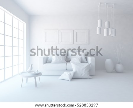 White Room With A Sofa Living Room Interior Scandinavian Interior 3d Illustration