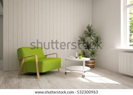 White Modern Interior Design 3d Illustration Stock
