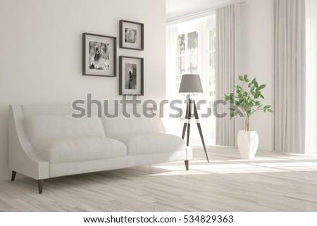 White Room Sofa Scandinavian Interior Design Ilustracje