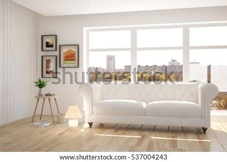 White Room Sofa Scandinavian Interior Design Stock