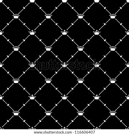 White seamless pattern with crown symbol on black, bitmap copy.