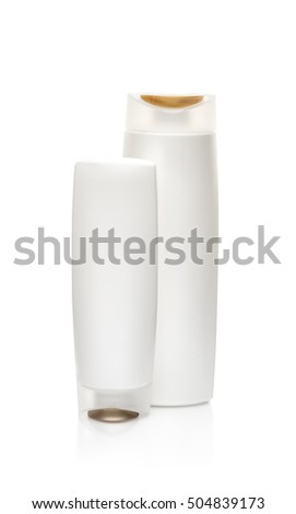White shampoo bottles isolated on white. Path included. Isolated