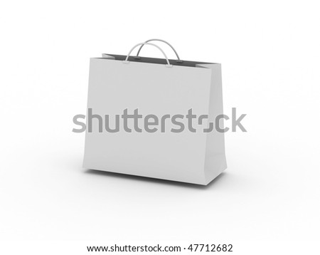 White shopping bag isolated on white background. High quality 3d render.