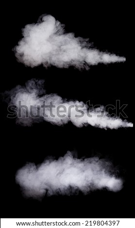 White smoke collection isolated on black background