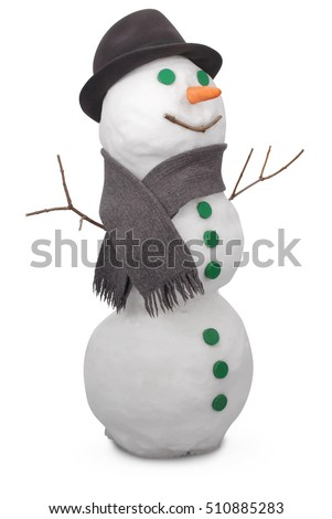 White snowman  with scarf and felt hat. On white background. Clipping path.