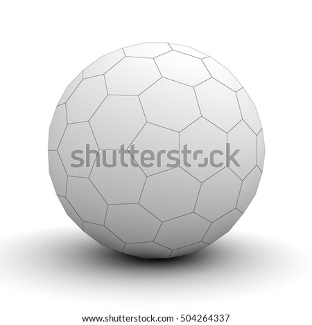 White sphere hexagon wireframe isolated over white background with shadow. 3D rendering.