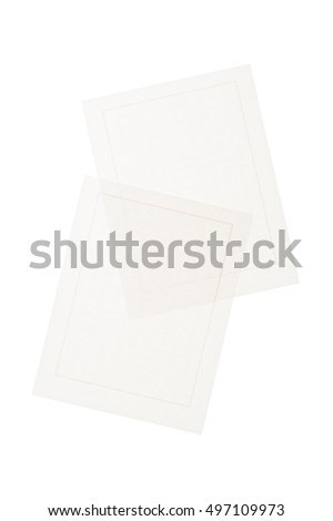 white squared manuscript paper with red line isolated white.