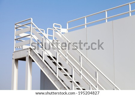 White stairway to the captain bridge on the big ship