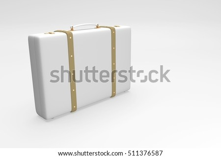 White suitcase with straps suitable for traveling and with personal belongings. 3D illustration