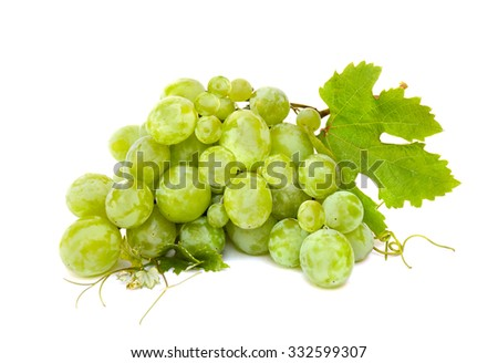White table grapes with leaves on white background