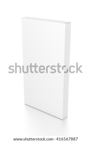 White tall thin vertical rectangle blank box from top side angle. 3D illustration isolated on white background.
