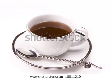 White tea cup on with background