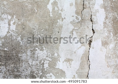 White texture of ancient cracked wall surface.