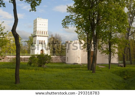 White tower pavilion in Tsarskoe Selo (Pushkin), Russian Tsars residence near St.Petersburg, Russia