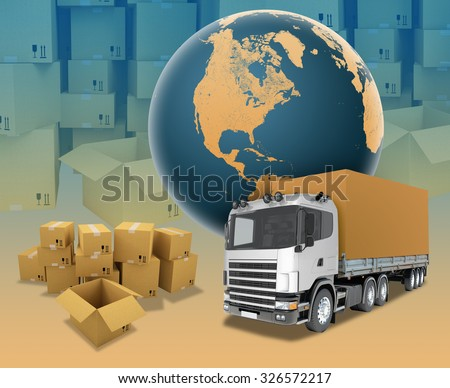 White truck on abstract background with boxes. Elements of this image furnished by NASA