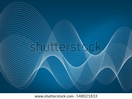 White wavy lines on a blue background