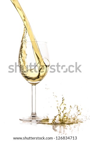 white wine splash isolated on white