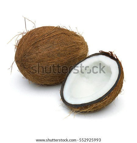 Whole and half coconuts isolated on white background