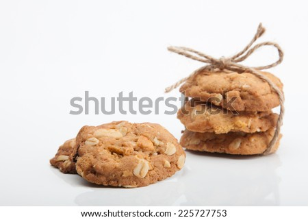 whole grain cookies on white background.