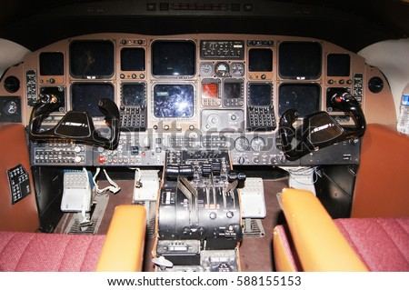 Aircraft interior cockpit view inside airliner stock photo - Interior car detailing wichita ks ...