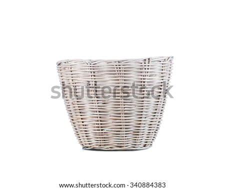 Wicker basket isolated on white background.clipping path.