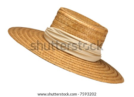 Wide-Brimmed Straw Hat with Beige Ribbon Isolated on White