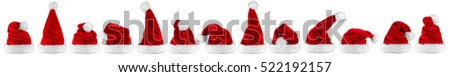 wide panorama row of red white plush santa claus christmas xmas hat isolated background