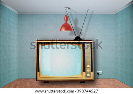 Wide Retro television in an empty room, static station.Digital composite
