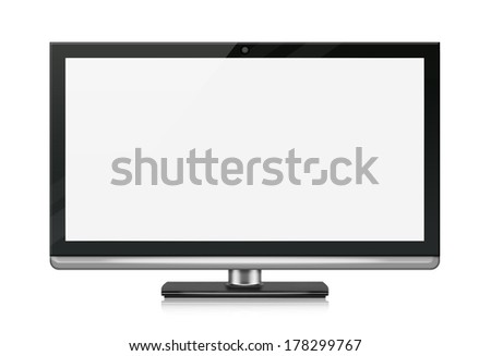 Wide-screen monitor with blank screen. Isolated on white background.