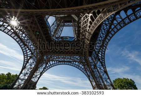 Wide shot of Eiffel Tower with dramatic sky and tree, Paris, France