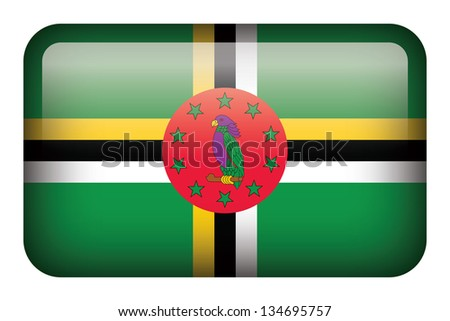 Wide square flag button series - Dominica