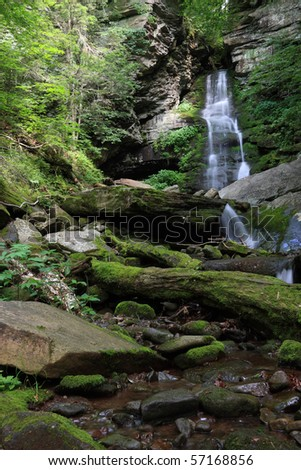 Wide view of Buttermilk Falls and stream in the Catskills Mountains - New York